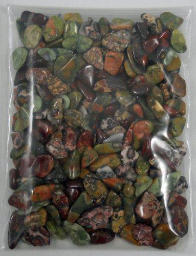 Traction animale Pouch Mini pierres posées aux propriétés curatives de cristal faites avec de petite taille XS dégringolé poli Jasper Brecciole, oeil de tigre, Jasper Leopard Skin & Unakite. Pierres minérales naturelles pour métaphysique, nouvel âge, médi