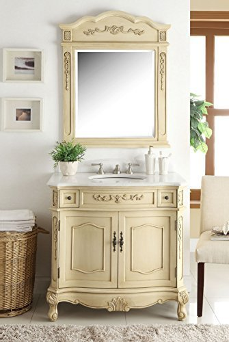 "36"" Traditional Style Biege Fairmont Sink Vanity w/ Mirror BC-3905W-LT-36 (Wood Victorian Trim)"