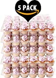 (5 Pack) Fill'nGo Carrier Holds 24 Standard Cupcakes - Ultra Sturdy Cupcake Boxes | Tall Dome Detachable Lid | Clear Plastic Disposable Containers | Storage Tray | Travel Holder | Also Regular Muffins