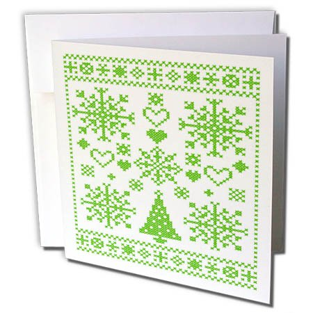 3dRose Taiche - Vector - Cross Stitch Sampler - Christmas Cross Stitch Embroidery Sampler Green and White - 12 Greeting Cards with envelopes (gc_273648_2) ()