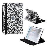 Gearonic TM 360 Degree Rotating Stand Smart Cover PU Leather Swivel Case for Apple iPad Mini and 2013 iPad Mini with Retina Display (Wake/sleep Function) - Black White Leopard