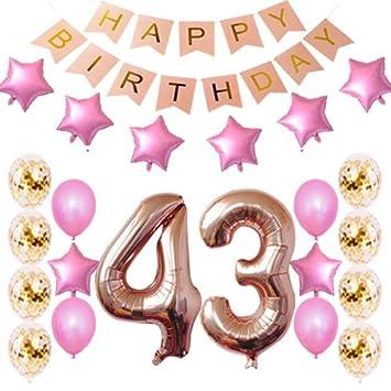 Amazon.com: 43 cumpleaños decoraciones fiesta suministros ...