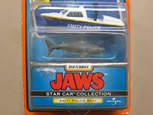 Matchbox Star Car Collection - Series 2 - Jaws (Movie) - Special Edition - Amity Police Boat w/shark replicas