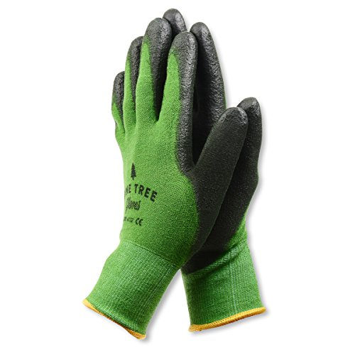 Pine Tree Tools Bamboo Working Gloves for Women and Men-Ultimate Barehand Sensitivity Work Glove for Gardening, Fishing, Clamming, Restoration Work-black/green,L,(1 (Ultimate Garden Tool)