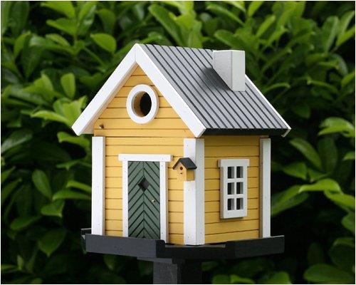 The Present Store Cottage Plus Multiholk Mangeoire en forme de maison pour oiseau Fixation murale ou sur pied Jaune WG104