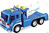 Memtes Friction Powered Wrecker Tow Truck Toy with Lights and Sound for Kids