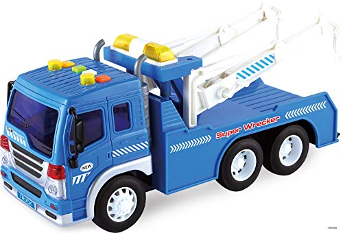 (Memtes Friction Powered Wrecker Tow Truck Toy with Lights and Sound for Kids)