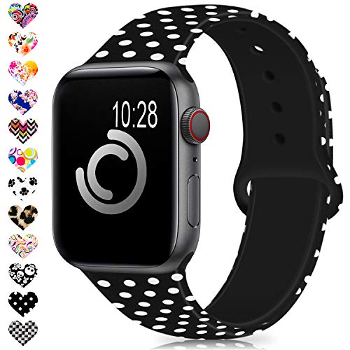 DigiHero Compatible for Apple Watch Band 38mm 42mm 40mm 44mm,Silicone Fadeless Pattern Printed Replacement Floral Bands for iWatch Series 4/3/2/1,Women/Men