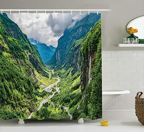 (Ambesonne Lake House Decor Collection, Valley Mountain Tree Mist Waterfall Canyon Alpine Landscape Mother Nature Theme, Polyester Fabric Bathroom Shower Curtain Set with Hooks, Green Blue)
