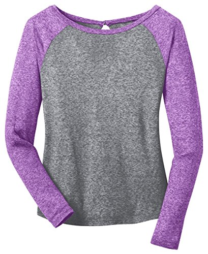 Heathered Raglan T-shirt (District Women's Long Sleeve Raglan T-Shirt_Purple Orchid/Heathered Nickel_XS)