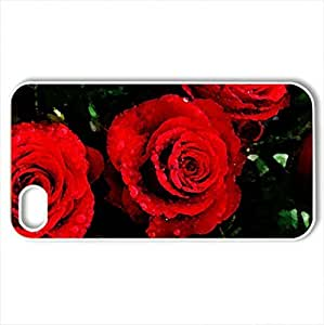 Red roses - Case Cover for iPhone 4 and 4s (Beaches Series, Watercolor style, White)