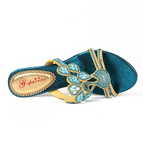 Nuovi Pantofole uk8 Us10 E Sandali Diamanti eu42 Di Strass Us5eu35uk3cn34 Tempestati Alto Con Estate Tacco cn43 Highxe Sexy 5 Diamanti Moda 5 qZxq8U