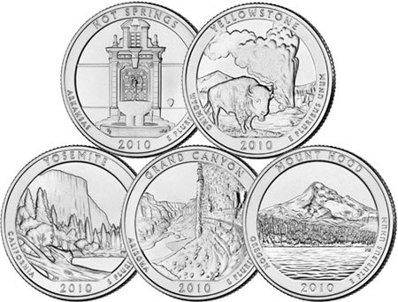 2010 P Complete Set of 5 National Park Quarters Uncirculated
