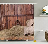 Ambesonne Barn Wood Wagon Wheel Shower Curtain, Rural Old Horse Stable Barn Interior Hay and Wood Planks Image Print, Fabric Bathroom Decor Set with Hooks, 84 inches Extra Long, Brown Dust