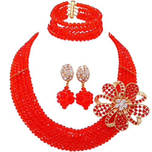 laanc Fashion Lady Jewellery 5 Rows Multicolor Crystal Nigerian Bridel Wedding African Bead Jewelry Sets (Red)