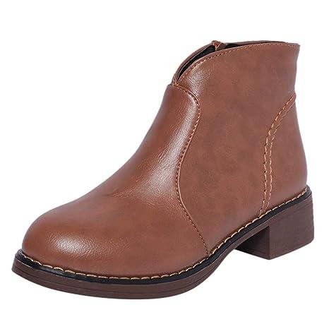 b5053ae955ec0 ZHRUI Liquidación Moda para Mujer Cremallera Martin Botas Botines de Cuero  Scrub Block Heel Shoes (