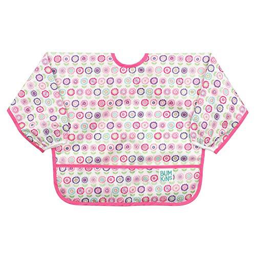 Bumkins  Sleeved Bib / Baby Bib / Toddler Bib / Smock, Waterproof, Washable, Stain and Odor Resistant, 6-24 Months  - Bloom