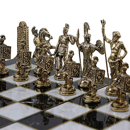 CHESSLANDTR (Without Board) Historical Rome Figures Metal Chess Pieces Medium Size King 2.8 inc (Only Pieces) (Historical Chess Set)