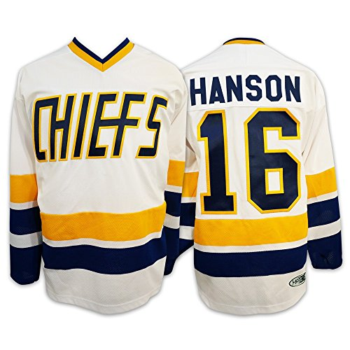 Mad Brothers #16 Hanson Charlestown Chiefs Slapshot Movie Officially Licensed Hockey Jersey Made in Canada