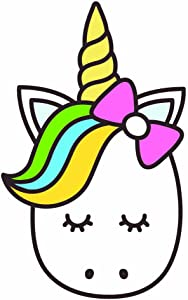 Unicorn with Bow Full Color - 5 Inch - Apple Macbook Laptop Decal
