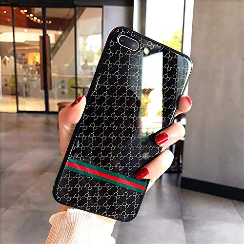 iPhone 7 Plus / 8 Plus Case, Elegant Luxury Fashion Style Designer Tempered Glass Back Phone Cover Case for iPhone 7 Plus / 8 Plus, Anti-Scratch Non Faded Durable Hard Case Cover (Black)