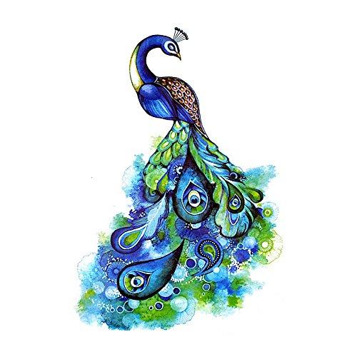 (WYUEN 5 Sheets Peacock Fake Tattoo Waterproof Temporary Tattoo Sticker For Women Men Body Art 9.8X6cm)