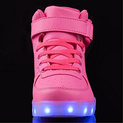 SAGUARO 7 Colors USB Charging LED Lighted Luminous Couple Casual Sport Shoes High Top Sneakers for Unisex Men Women Rose Red
