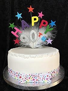 Happy 90th Birthday Cake Topper Multicoloured Stars Silver
