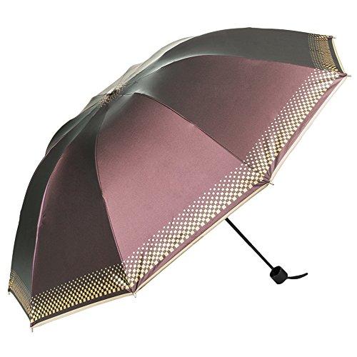 Aerusi Anti-UV Parasol Manual Open 3 Fold Windproof Sun or Rain Umbrella (Plum)