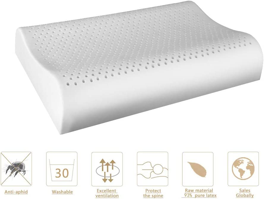 MODONE Natural Latex Bed Pillow with Hypoallergenic Anti-mite and Protect Cervical Memory Pillow