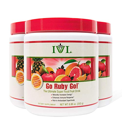 IVL Go Ruby Go Superfood Fruit Powder Supplement, 30 Serving Container (Pack of 3) (Small Green Fruit That Looks Like An Apple)