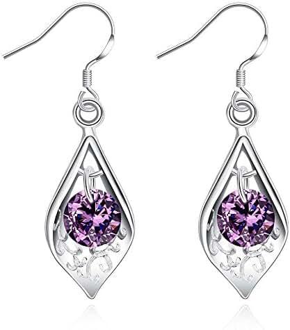 PMANY Open Teardrop Purple Crystal Sterling Silver Plated Dangle Earrings