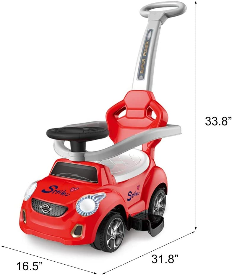 【UK IN STOCK】Kids 3 in 1 Ride on Toys Pushing Car w//Parental Handle and Music Toddler Indoor Outdoor Play Car Push Power Ride-ons Cars with Universal Wheels