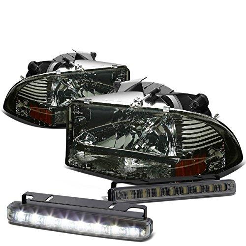 For Dodge Dakota/Durango Smoke Lens Amber Corner Headlight+Smoked DRL 8 LED Fog Light ()