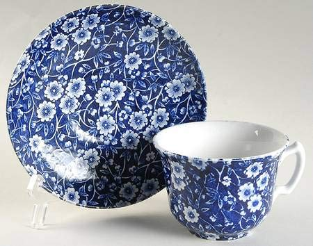 Staffordshire Calico Blue Burleigh Flat Cup and Saucer Set 2 5/8