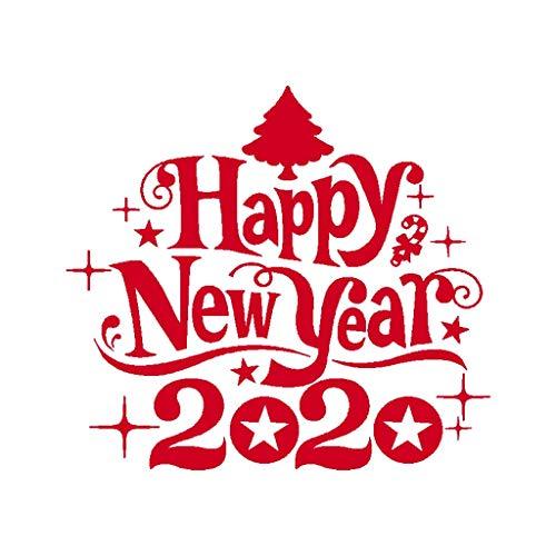 MinusK Sticker Decal Feliz Navidad Pared Navidad Sala de Estar Mesa de Centro Decoracion de Ventana Vidrio de PVC Autoadhesivo Reciclaje extraible 2020 Feliz ano Nuevo