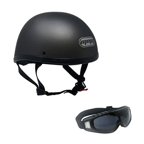 Amazon.com  Motorcycle Skull Cap Half Helmet Cruiser DOT Approved - MEDIUM  - Titanium Gray with Smoked Goggles 885  Automotive 5076fc0a96af