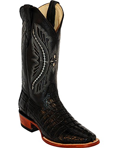 Ferrini Menns Caiman Krokodille Hale Kvadrat Boots Black