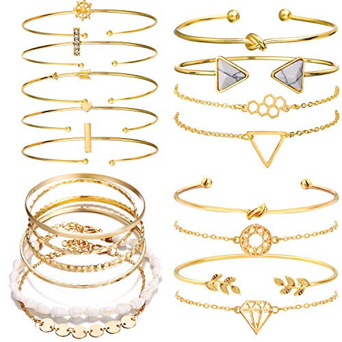 Cocazyw 19pcs Multiple Layered Stackable Open Cuff Wrap Bangle Gold Bracelet for Women Jewelry Adjustable for Girls Set