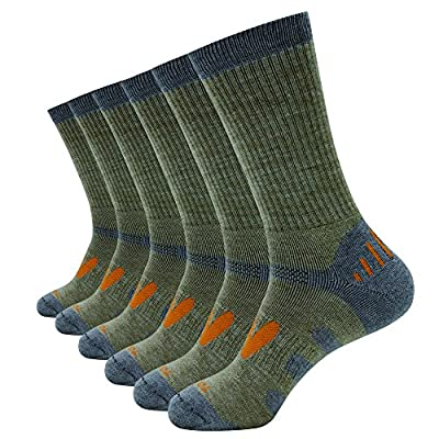 Enerwear 6P Pack Men's Merino Wool Blended Blister Free Trail Socks