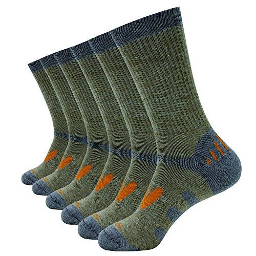 Enerwear Men's 6 Pack Wool Outdoor Hiking Work Boot Crew Socks & Athletic Socks (10-13/Shoe: 6-12, (Wool Boot Sock)