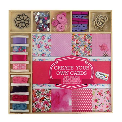 Craft Sensations Card Making Pack, Over 50 Different Items, Sheets, Twine, Stamp, Wooden Shapes, Buttons, Rhinestones and More -