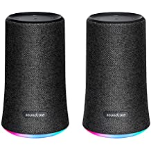 [2-Pack] Soundcore Flare Portable Bluetooth 360° Speaker by Anker, with All-Round Sound, Wireless Stereo Pairing, Enhanced Bass & Ambient LED Light, and IPX7 Waterproof Rating - Black