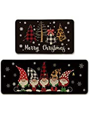 Artoid Mode Buffalo Plaid Christmas Tree Gnomes Black Decorative Kitchen Mats Set of 2, Merry Christmas Xmas Winter Holiday Party Low-Profile Floor Mat for Home Kitchen - 17x29 and 17x47 Inch