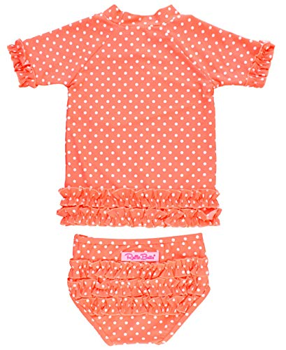 (RuffleButts Baby/Toddler Girls Rash Guard 2-Piece Swimsuit Set - Coral Polka Dot Short Sleeve Bikini with UPF 50+ Sun Protection - 12-18m)
