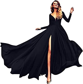 Howley Dress Women Long Sleeve Ball Gown Sexy V Neck Solid High Split Party Sheath Maxi Dress