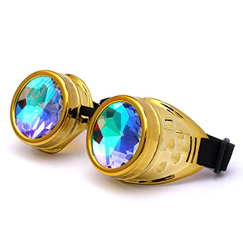 (Lelinta Steampunk Rave Glasses Goggles with Rainbow Crystal Glass Lens)