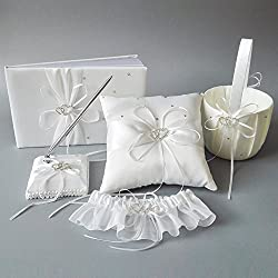 Wedding Flower Girl Basket Rings For Ring Bearer Pillow Garter Guest Book Pen Wedding Set Decoration Ribbon Ceremony Party Favors For Guests (Double Heart Ivory)