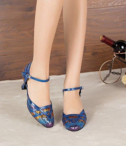 latine pompes Minitoo Th155 de Chaussures nbsp;Sequins Taogo Mariage Cuir danse Femme bleu Bleu PU Dance piste z7TwqzrF