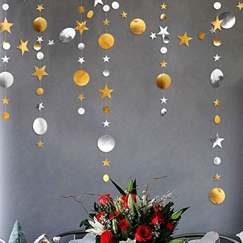 Gold Silver Star and Circle Dot Garland Decorations, Metallic Sparkling Circle Garlands Streamer Backdrop, Glittery Hanging Bunting Banner Decorations for Kids Birthday Party,Baby Shower,Wedding
